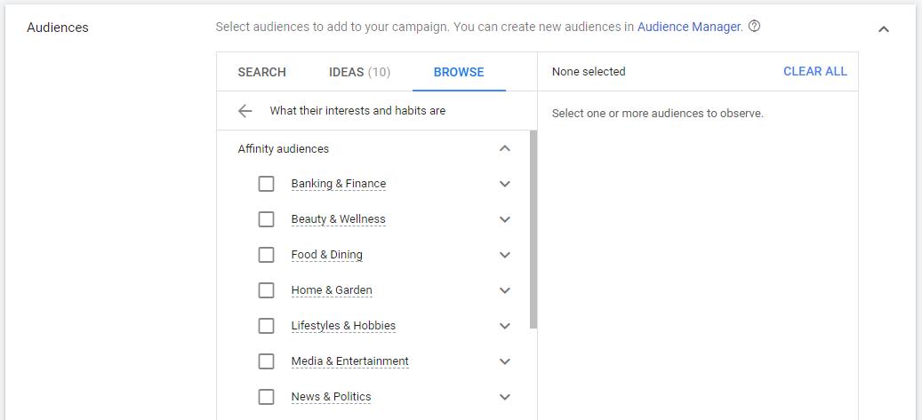 Audencias Afinidad Google Ads