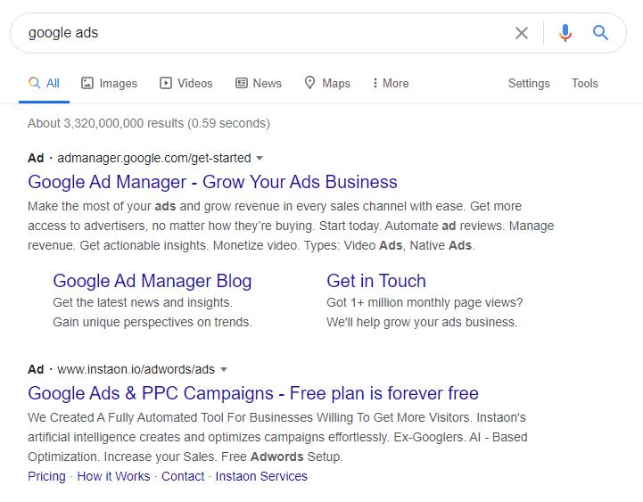 SERP's Google Ads